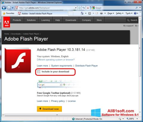 Screenshot Adobe Flash Player per Windows 8.1
