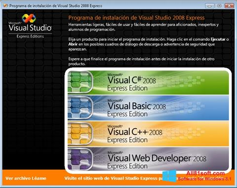 Screenshot Microsoft Visual Studio per Windows 8.1