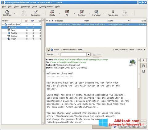Screenshot Claws Mail per Windows 8.1