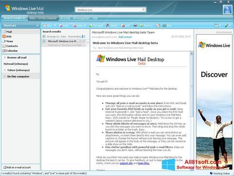 Screenshot Windows Live Mail per Windows 8.1