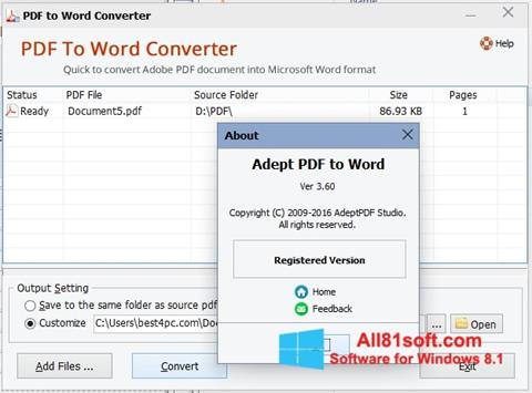 Screenshot PDF to Word Converter per Windows 8.1