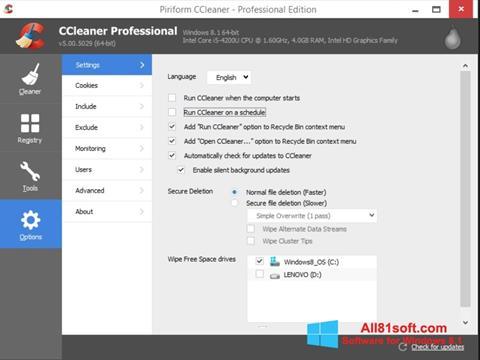 Screenshot CCleaner per Windows 8.1