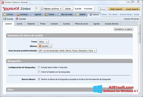 Screenshot Zimbra Desktop per Windows 8.1